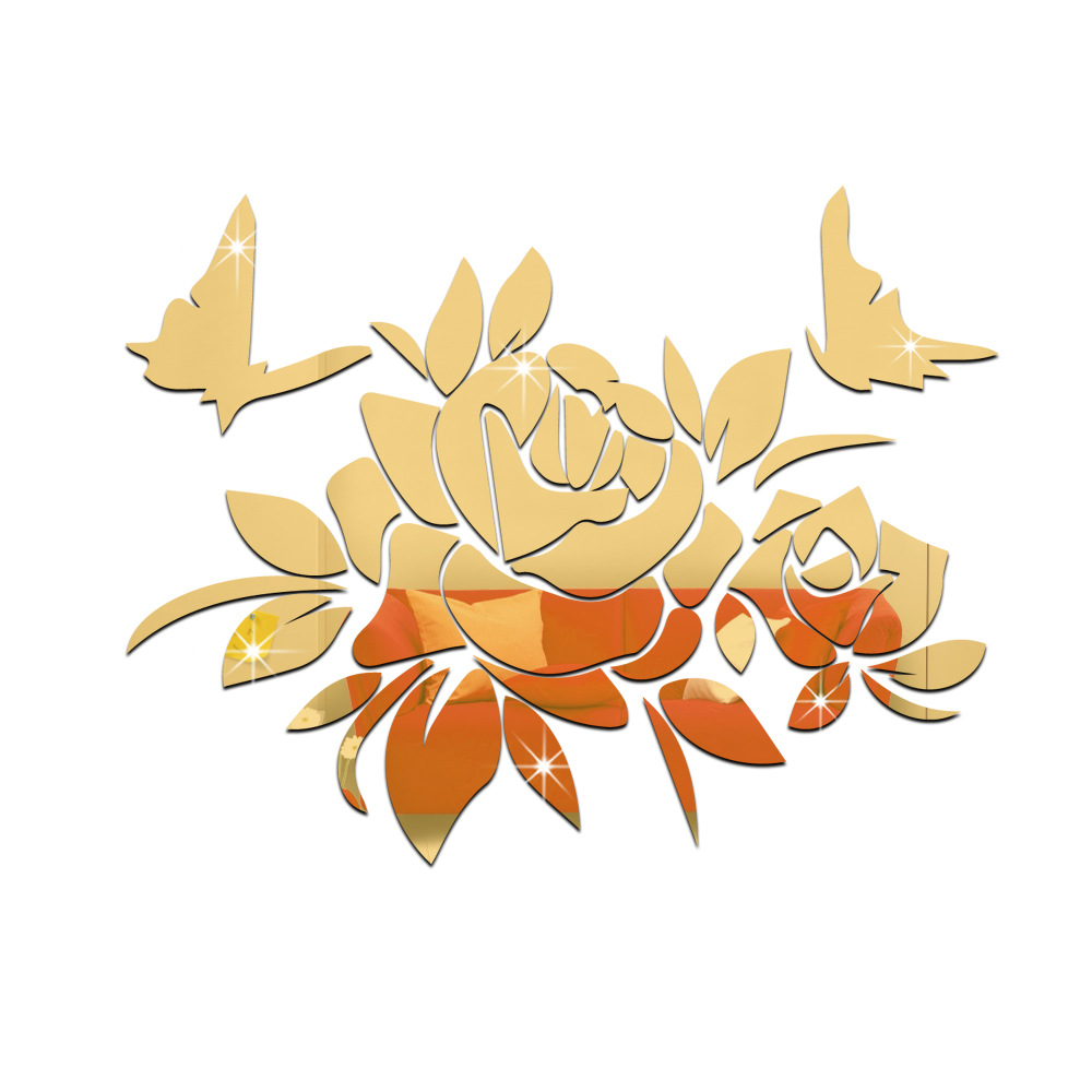 funlife Butterfly With Flower Wall Sticker DIY Mirror Wall Art ...
