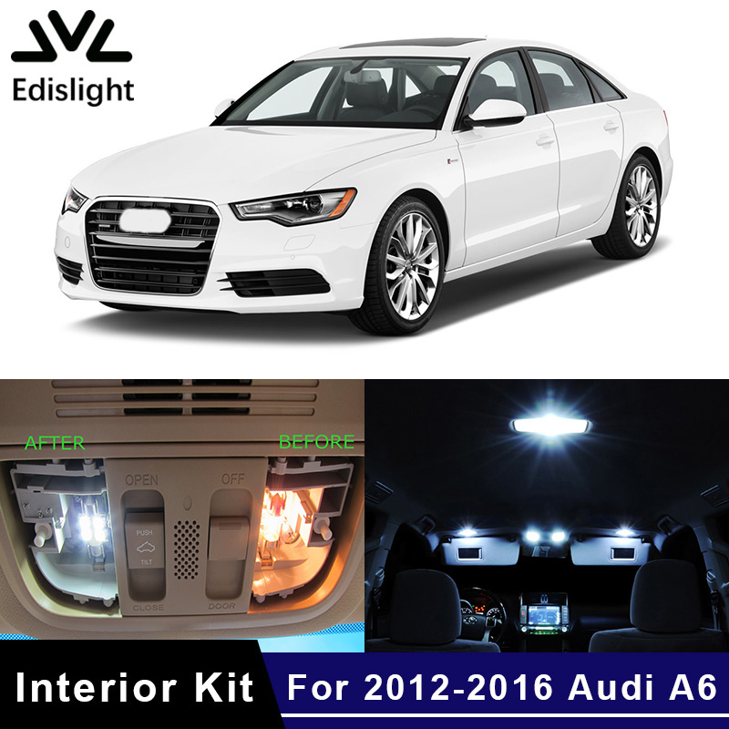Edislight 12Pcs Ice Blue White Canbus LED Lamp Car Bulbs Interior Package Kit For 2012-2016 Audi A6 C7 Dome Trunk Plate Light
