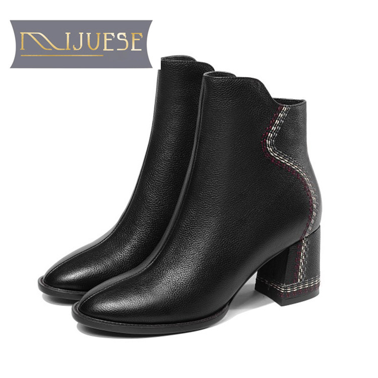 MLJUESE 2019 women ankle boots soft cow leather sewing zippers camel color high heels boots winter short plush boots size 34-41MLJUESE 2019 women ankle boots soft cow leather sewing zippers camel color high heels boots winter short plush boots size 34-41