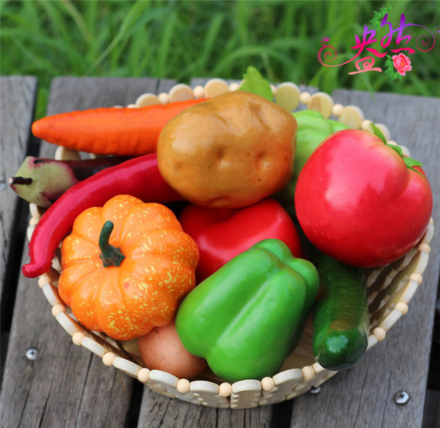 12pcs Various Fruits Fake Fruits Simulation Vegetables Artificial Crafts  Home Decoration Model Party Photographic Equipment PL