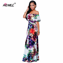ADEWEL Summer Maxi Dress Women Boho Style Multi-color Floral Print Off shoulder Floor-Length Female Party Long Gowns
