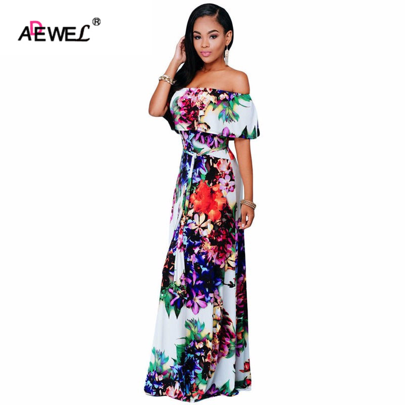 ADEWEL Summer Maxi Dress Women Boho Style Multi-color Floral Print Off ramenem Podzimní dámské párty dlouhé šaty