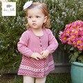 DB3324 dave bella primavera verão bebê menina doce projeto cardigan blusas criança infantil roupa da menina camisola de malha suave