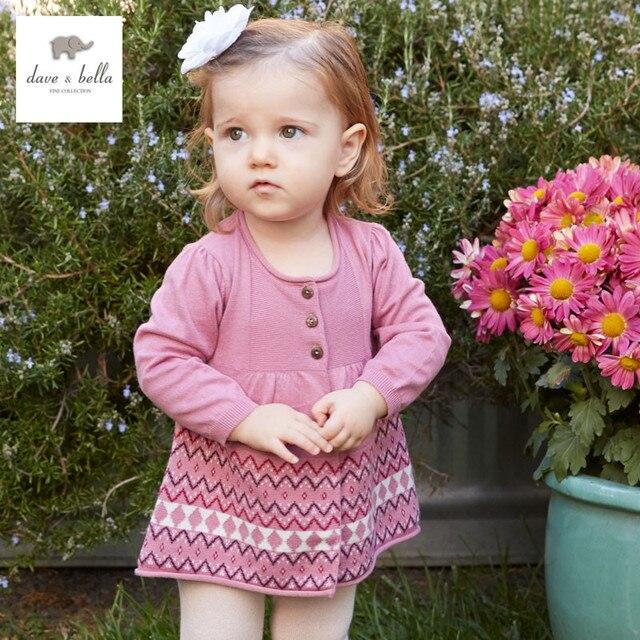 801564d13 DB3324 ديف بيلا الربيع الصيف طفلة حلوة تصميم كنزة صوفية طفل رضيع ملابس فتاة  لينة متماسكة