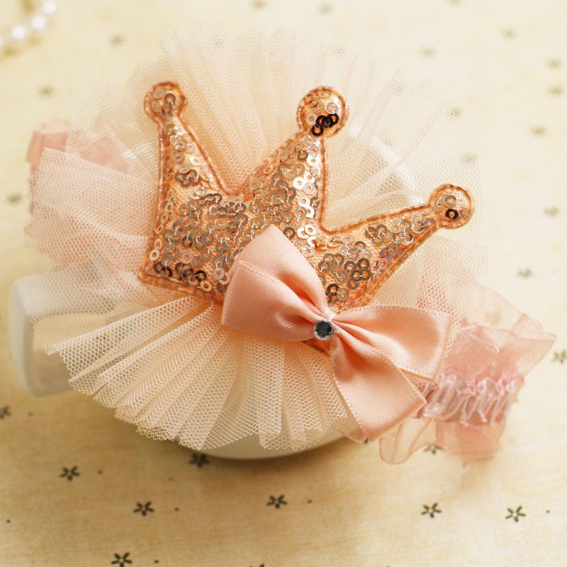 Купить с кэшбэком Hot New white Cute Crown Girls Hairbands Baby Headwear Elastic Hair Band Kids Headband