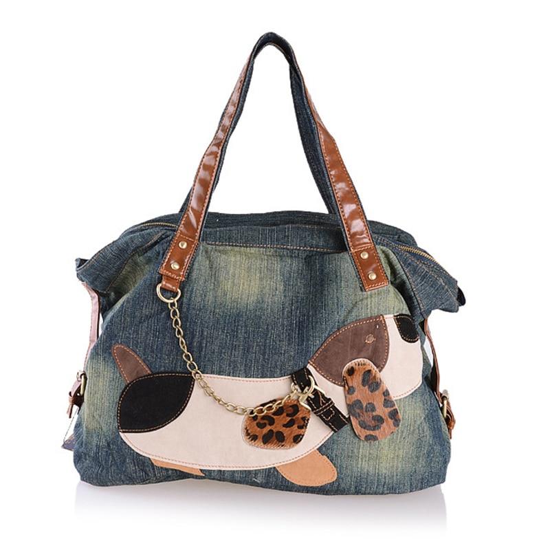Fashion Women Bag Vintage Casual Denim Handbag Lady Large Capacity Jeans Tote Patchwork Cartoon Dog Shoulder Messenger Bag