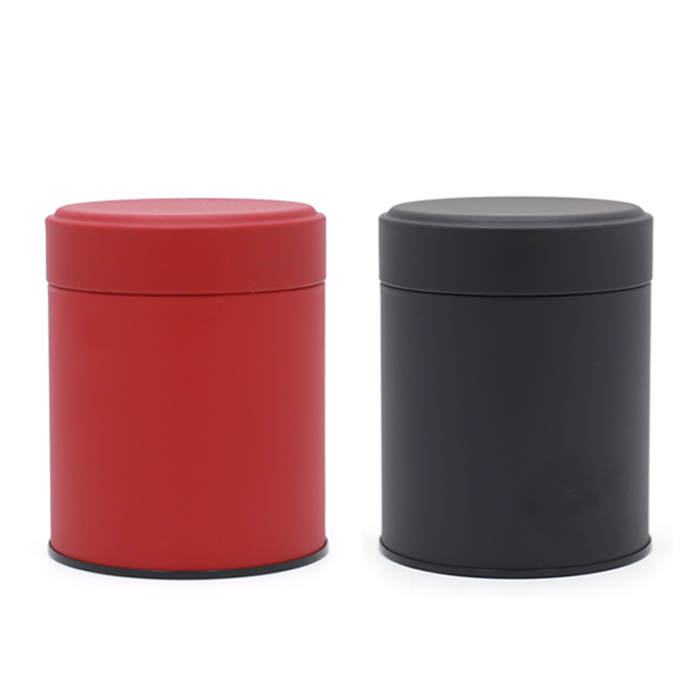 DIA84x105mm  Mat Black Red Beige Round Tea Tin Box Coffee Storage Metal Box  Candy Cans 48pcs/lot