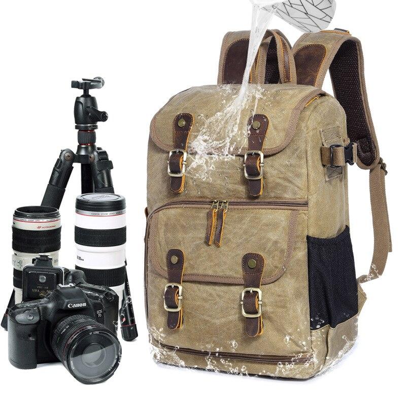 YUPINXUAN Europe Fashion Waterproof DSLR Backpacks Canvas Leather Camera Rucksacks Vintage Travel Daypacks Multifunction Mochila