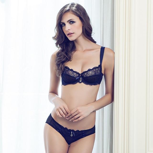 1e10d0c93ca 2017 brand elegant underwear set full transparent lace sexy women bra set  plus size push up