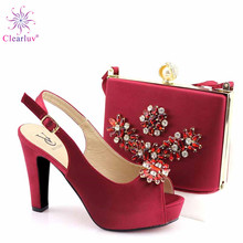 Summer New Coming Wine Red Color Nigerian Shoes and Bags To Match Shoes with Bag Set Matching Italian Shoe and Bag Set cheap Clearluv Slingbacks Spike Heels Med (3cm-5cm) Fits true to size take your normal size Fashion Fretwork Wedding Peep Toe
