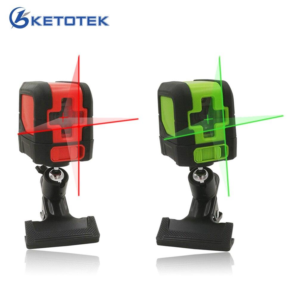 купить Ketotek Mini 2 Cross Lines Laser Level Vertical Horizontal Red Green Beam Self-Leveling Laser bracket and gift box по цене 1789.69 рублей
