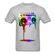 Lasting Charm Melting Boombox digital rainbow look Sports T-shirt Discount Men Design Sweatshirts Round Collar(China)