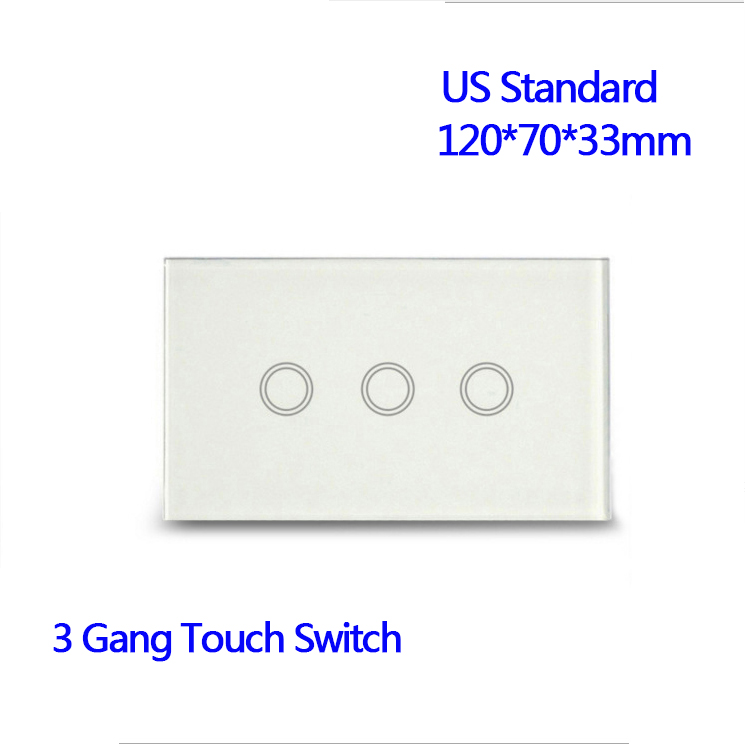 US Standard 3 Gang 1 Way Wall Light Touch Screen Waterproof Crystal Glass Panel Wall Touch Switch smart home uk standard crystal glass panel wireless remote control 1 gang 1 way wall touch switch screen light switch ac 220v
