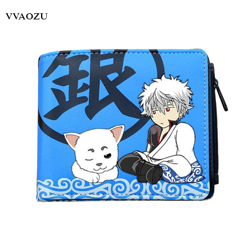 Anime Sakata Gintoki PU Wallet Anime Gintama Short Style Credit Cards Purse Zipper Coin Wallets Card Holders anime one punch man pu white zero wallet coin purse with interior zipper pocket