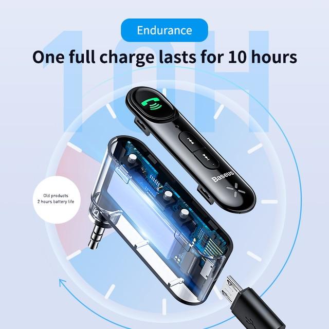 Baseus voiture Aux Bluetooth 5.0 adaptateur sans fil 3.5mm récepteur Audio pour Auto Bluetooth Kit mains libres voiture haut-parleur casque 3