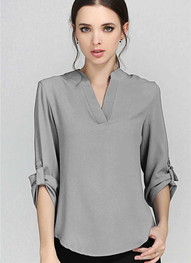 36757c12c34 Летние Блузки шифоновая рубашка одноцветное глубоким v-образным вырезом  элегантные с длинным рукавом Для женщин