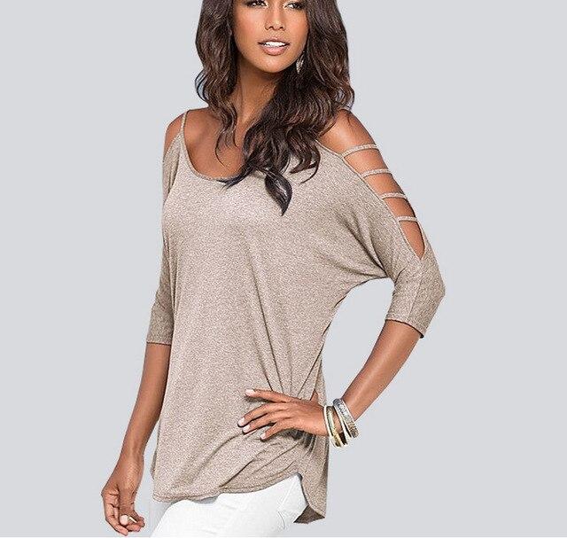 ae413680e1c38 T camisa mujeres camisetas de verano de algodón de hombro camiseta mujer  ropa poleras de mujer