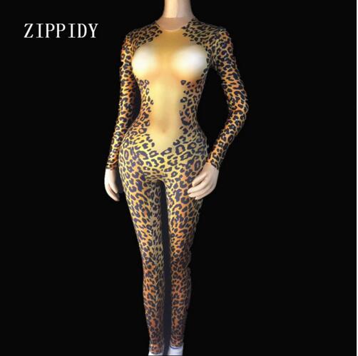 Stampato Sexy Un Delle Grande Strass Costume Del Di Cristalli Skinny Tuta Donne Moda Leopard Della Pezzo Scena Stirata WAqZOOBI