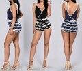 2017 Женщины Мода Sexy Повседневная Весна Vestidos Комбинезон Леди Партии Клуба Комбинезоны Бинты Bodycon Лоскутное Печати короткие Комбинезоны