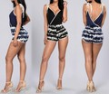 2017 Women Fashion Sexy Casual Spring Vestidos Rompers Lady Club Party Playsuits Bandage Bodycon Patchwork Print short Jumpsuits