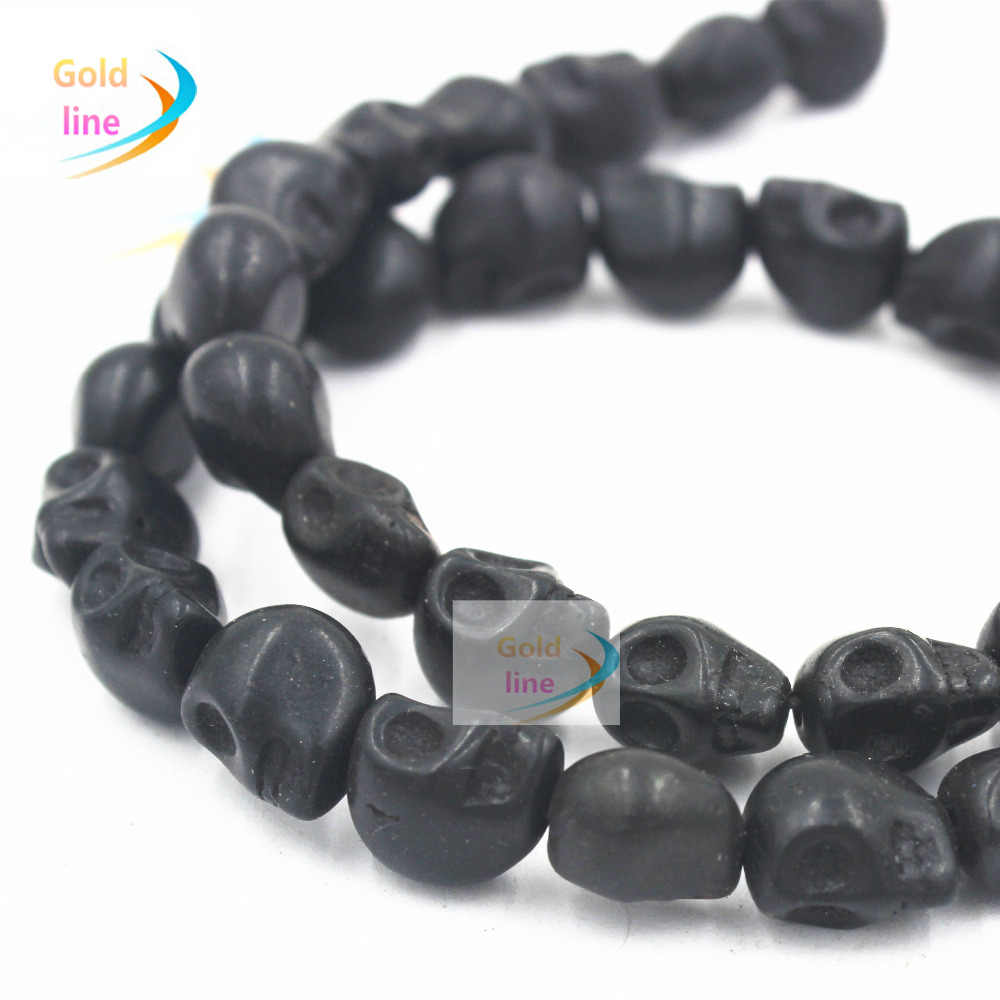 black Skull Loose  Beads  10MM 12 mm Black Natural Skull Beads Fit Jewelry DIY making
