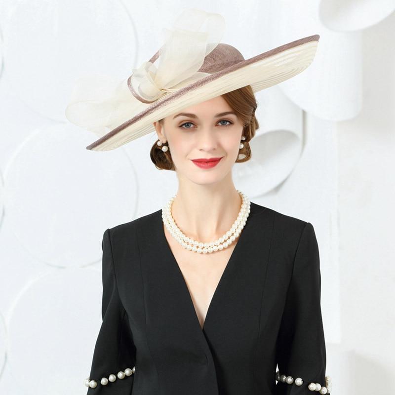 Fascinators Women Bow Big Sinamay Wedding Hats And Champagne British Ladies Kentucky Derby Church Hat 2019 Wide Brim Fedoras