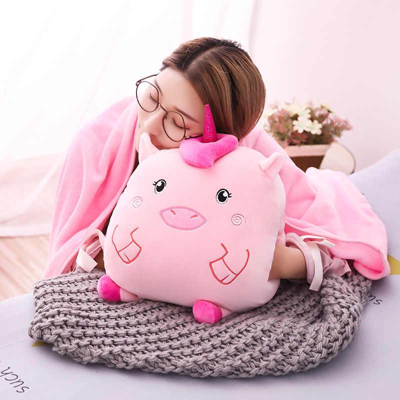 Hot Bonito Unicórnio De Pelúcia Pato Gato Hamster Porco Bichos de pelúcia Brinquedos de Pelúcia com Cobertor Travesseiro Mão Mais Quente do Aniversário Dos Miúdos Meninas presentes