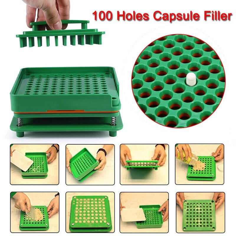 100 Holes Capsule Filler Board Food Grade ABS Filling Tools Fit for 0 Capsule SDFA88