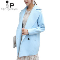 2018 Long Winter Jacket Women Wool Coat Plus size Autumn Women Woolen Coat Korean Student Blue Ladies Jackets Elegant Overcoat