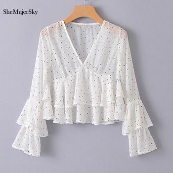SheMujerSky Women Ruffles Shirt Dot Printing V Neck Blouse Flare Sleeve Womens Tops Chiffon Blouses blusa blouse