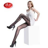 Large size women Jacquard tights 40 Denier lady flower pantyhose 3 sizes langsha