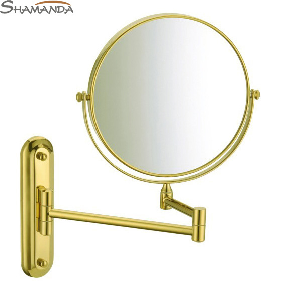 Free Shipping European Bathroom Products Solid Brass Gold Finished In Wall Mounted Cosmetic Mirror,golden Bath Mirrors-60022