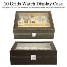 Home Desktop Watch PU Storage Box Jewelry Collection Organizer Mens Business Wristwatch box