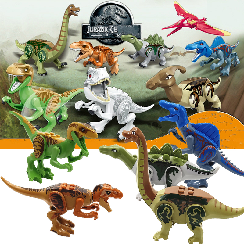 Jurassic World 2 Dinosaurs Building Blocks Bricks Tanystropheus Tyrannosaurus Rex Figures Toys Compatible with Legoed Dinosaurs 2 pcs set xl jurassic dinosaurs indominus rex and t rex gyrospheres