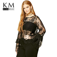 Kissmilk Plus Size Women Clothing Sexy Solid Black Tops Lace Flare Sleeve Blouse O Neck Long