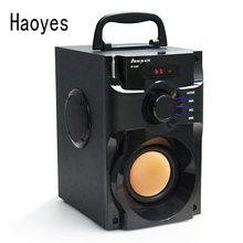 Haoyes Drewniany Subwoofer Głośnik Bluetooth FM Radio Przenośne Głośniki Stereo Mp3 Grać 10 W Super Bass Głośniki Komputerowe Kolumna