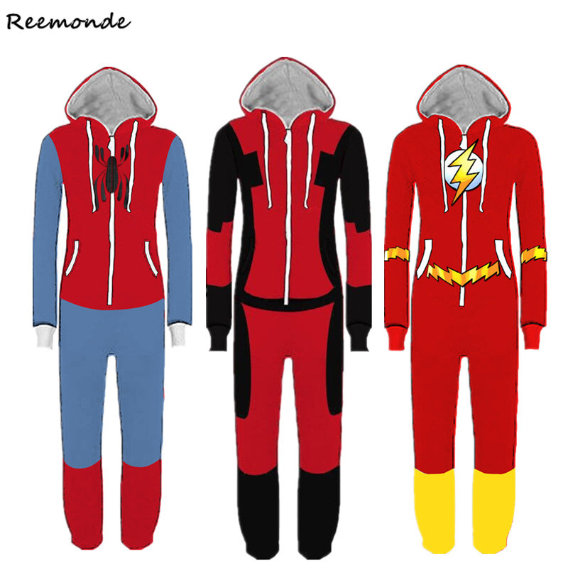 Movie Spider-Man Pajamas Homecoming Cosplay Costumes SpiderMan Bodysuits Hoodie Sweater For Children Kids Boys Halloween Party