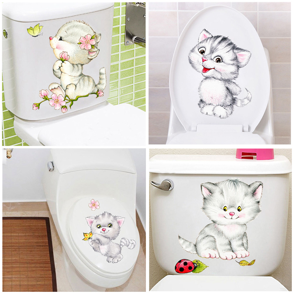 Cute New Cats Wall Sticker Toilet Stickers Hole View Vivid Bathroom Home Decoration Animal Vinyl Decals Art Sticker Wall Poster