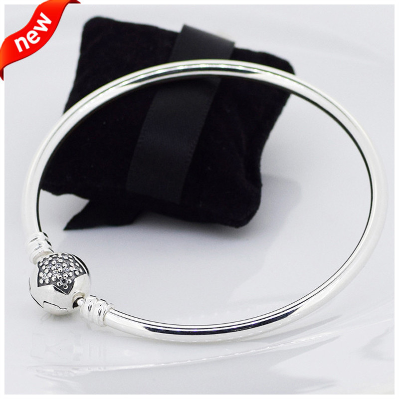 Real 925 Sterling Silver Moments Star Bangle Fit Original Women Bead Charm Basic Bracelet DIY Jewelry Wholesale FLB008 цена 2017