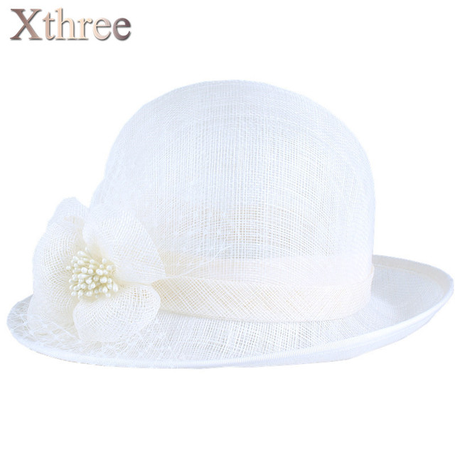 Xthree summer hat linen England Style Vintage Sinamay Fascinator hat female girl hat for women