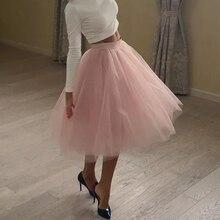 Высокое качество 5 слоев фатина модные Тюлевая юбка плиссированные юбки для женщин Женская Лолита Нижняя подружек невесты миди юбка куртка faldas Saias femininas