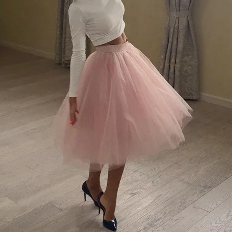 15f387238 Calidad 5 capas moda tul Falda plisada tutú faldas Mujer Lolita enaguas  damas de honor Falda Midi Jupe Saias faldas