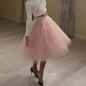 Tulle Skirt Petticoat TUTU Lolita Bridesmaids Pleated 5-Layers Fashion Faldas Saias Jupe