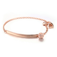 Personalized Rose Gold Zircon Bracelet Rhinestone Bead Custom Engraved Name Initials bar Hand Chain Girls Jewelry Womens Gfits