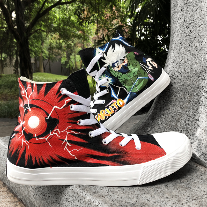 Wen Mens High Sneakers Design Naruto Shippuuden Kakashi Syaringan Hand Painted Shoes Sewing Canvas Womens Plimsolls Lace up