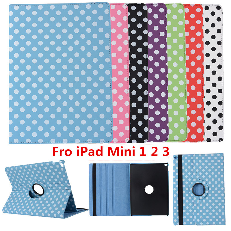 Dot Tablet Case For iPad Mini 123 Case 360 Rotation PU Leather Case for Apple Smart Cover Mini 123 Flip Case with Stand Function apple ipad mini smart case black mgn62zm a