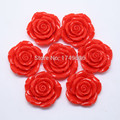 Red 42mm Flower Beads Chunky Cabochon Shape Beads Resin Rose Beads With Hole Use For Kids/Girls Jewelry In Festival