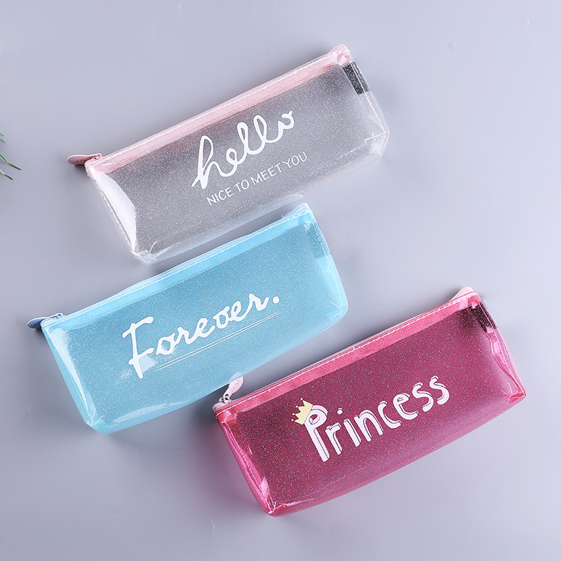 Transparent Pencil Cases For Girls Cute Pvc Cactus Pen Bag School Supplies Stationery Pouch Kawaii Pencil Box Canetas Escolar in Cosmetic Bags Cases from Luggage Bags