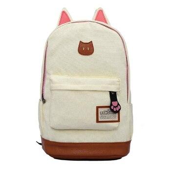 Şık Kawaii keten sırt çantası Kadın Kızlar Için Satchel Okul Çantaları Kedi Kulak Sevimli Sırt Çantası Okul Karikatür Moda 2018 Yeni Sırt Çantası