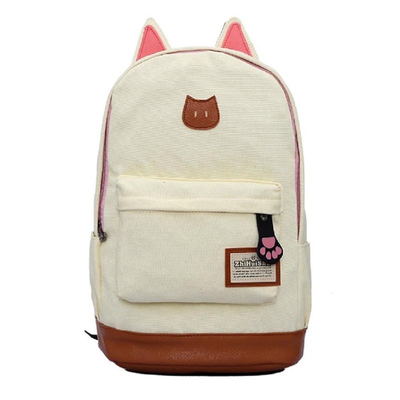 Chic Kawaii Canvas Backpack For Women Girls Satchel School Bags Cat Ear Cute Rucksack School Cartoon Fashion 2018 New Backpack cute cat shape and japanese character print design satchel for women